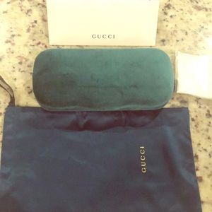 Authentic Gucci Glass case w/ bag and lens cleaner